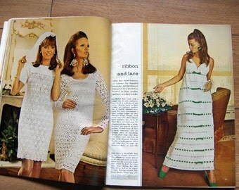 vintage 60s McCalls needlework and crafts knitting crochet patterns spring/summer 1969 dresses sweaters vests coat hat
