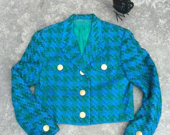 1990s Vintage Silk Jacket - Blue Green Woven Cropped Jacket - Gold Buttons - Professional or Fun - Bright Blue - Woven Silk - 36 Bust