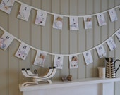 SALE...Advent Calendar. Vintage Christmas Advent Bunting. Christmas Decoration. This lovely strand has been made from vintage linens.