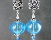 Hollow Blue Aqua Glass & Sterling Silver Earrings, Boho Earrings, Light Weight Earrings, Long Dangle Earrings Lampwork Earrings Blown