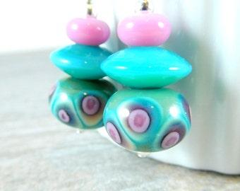 Polka Dot Dangle Earrings, Teal Pink Purple Ivory Earrings, Whimsical Jewelry, Lampwork Earrings, Retro Earrings, Pastel Glass Drop Earrings
