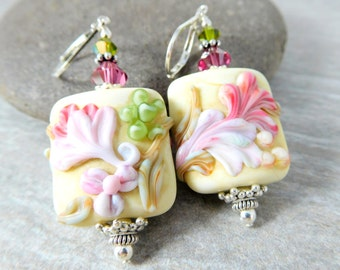 Soft Pastel Floral Dangle Earrings, Vintage Inspired Botanical Glass Earrings, Etched Pink Purple Green Ivory, Rectangle Nature Lampwork