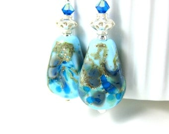 Turquoise Blue Glass & Sterling Silver Dangle Earrings, Blue Lampwork Earrings, Rustic Earrings, Boho Earrings, Earthy Organic Earrings