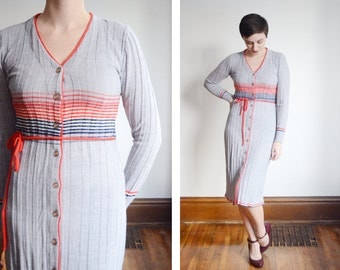 1970s Grey Striped Sweater Dress - S