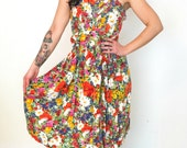 French vintage 1980s does 1950s liberty floral dress with open cross back - medium - M