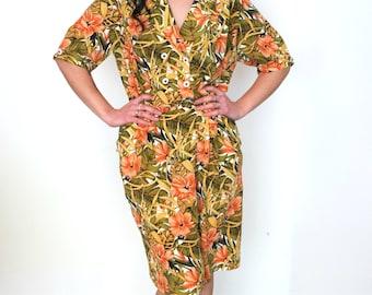 French vintage 1980s jungle rainforest dress - white yellow orange gold green - medium large - M L