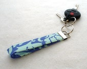 Wristlet Keyring Fob Amy Butler Fabric Bali Gate Periwinkle Blue Aqua Blue Key Chain Ring Love MTO