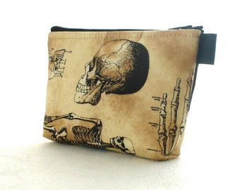 Skeleton Fabric Cosmetic Bag Fabric Zipper Pouch Makeup Bag Zip Pouch Halloween Skull Ribcage Bones Anatomy Tea Stained Black