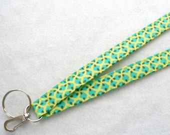 Modern Amy Butler Fabric Lanyard ID Badge Holder Breakaway Lanyard Key Ring Fob Glow Pip Yellow Turquoise Green