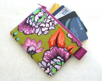 Tula Pink Fabric Business Card Case Coin Purse Zipper Credit Card Case Card Holder Wallet Elizabeth Astraea Floral Purple Olive Salmon MTO