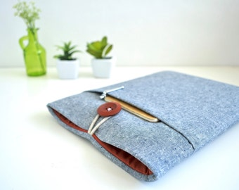 "Chambray Laptop Sleeve 11"", 13"", 15"" Laptop Case Padded with Pocket"