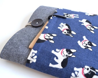 """11"""", 13"""", 15"""" Laptop Case Laptop Sleeve Custom Case Padded with Pocket - French Bull Dogs"""