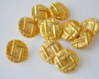 """Gold Toned Weaved Shank Buttons - 13/16"""" x 10 - Potentially for Blazers?"""