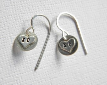 Kiss and Hug Tiny Heart Charm Earrings in Sterling Silver