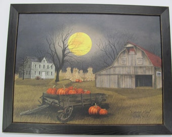 Harvest Wall Decor,Harvest Moon,Billy Jacobs,Pumpkins,Wagon,Fall Farm Scene,Handmade Distressed Frame