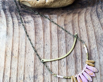 Soar - Brass Metalwork Necklace - Rose, Black, Cream Glass Bead Brass Long Necklace - Artisan Tangleweeds Jewelry