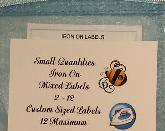 Sample Package Iron On Mixed Content Cotton Custom Clothing Labels 2 - 12 Maximum