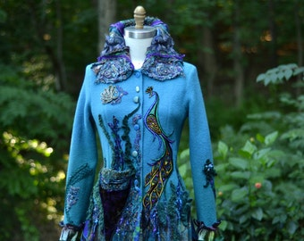 Peacock patchwork long sweater COAT,  eco Fantasy fashion in size Medium. Ready to ship