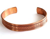 Unisex Copper Cuff Bracelet, Vintae Copper Twist Wire Cuff, Twist Braid Cuff, Vintage Copper Jewelry , Copper Cuff, Copper Bracelet