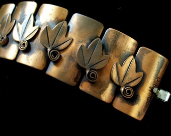 Rebajes Bracelet, Vintage REBAJES Copper LEAF Wide Link Bracelet, Leaf Bracelet, Rebajes Leaf Bracelet, Modernist Copper, The Copper Cat