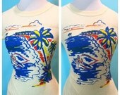 NOVELTY  Vintage 1940s printed terry Tee T-shirt S/M size16