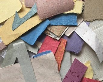 Scrap pack of handmade paper for collaging, cardmaking, supply, homemade paper, cotton paper, assorted paper, paper scraps, scrapbooking