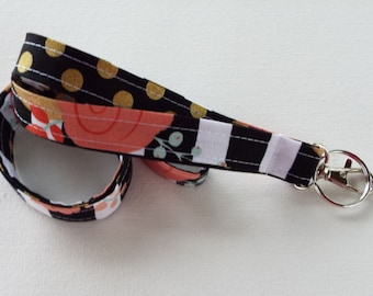 Lanyard  ID Badge Holder - black and white stripes metallic gold flowers - coral, mint  - Lobster clasp and key ring