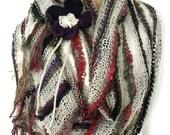 SALE Knit stole, Extra long scarf, Loose knit scarf, Prayer shawl, Boho shawl, Fall scarf, Fall fashion trend, Fall accessory, Flower brooch