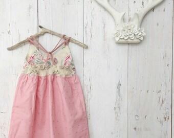 Girls Dress - Baby Dress - Toddler Girl Dress - Youth Dress - Floral, Blush and Gold - by bitty bambu