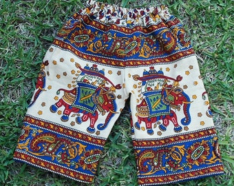 Hippie Kids pants -size 1-Blue Red Elephant -Boys or Girls- Read measurements