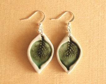 Ceramic LEAF Earrings - Handmade Porcelain Leaf Jewelry - Leaf-Shaped Pottery - Ready To Ship