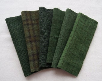 Dark Green Hand Dyed and Felted Wool Fabric Number 7000 Perfect for Rug Hooking Applique and Crafts - Primitive Rug Hooking - Holiday Green
