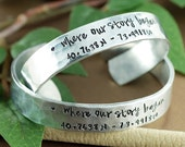 Where our Story Began, Couples Bracelet, Coordinate Cuff Bracelet Custom Cuff Bracelets, Longitude Latitude Bracelet, Personalized Bracelets