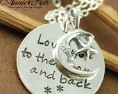 ON SALE Love you to the Moon and Back, Hand Stamped Mommy Jewelry, Moon Star, Personalized Mommy Necklace