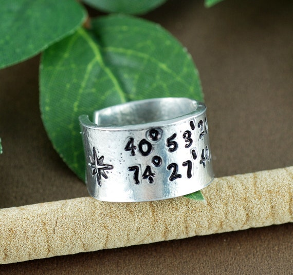 Coordinate Ring, Longitude Latitude Ring, Personalized Ring, Anniversary Gift, Custom Coordinate Ring, Location Ring, Gift for Her