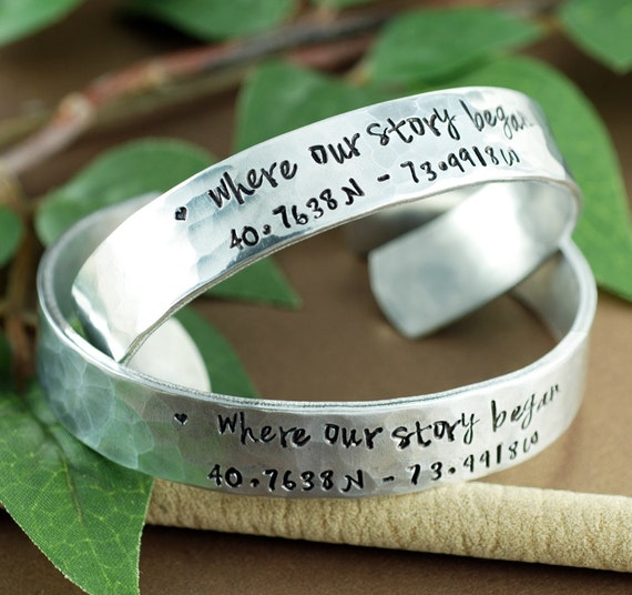 Where our Story Began, Couples Bracelet, Coordinate Cuff Bracelet Custom Cuff Bracelets, Longitude Latitude Bracelet, Personalized Bracelets
