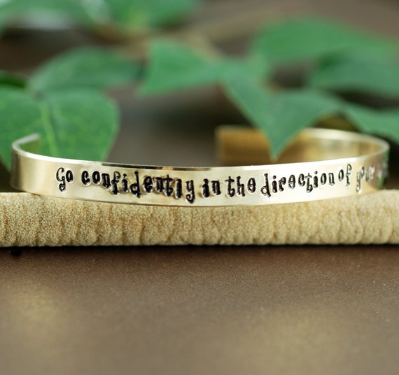 Go confidently in the direction of your dreams, Cuff Bracelet, Personalized Bracelets, Graduation Jewelry, Graduation Gift