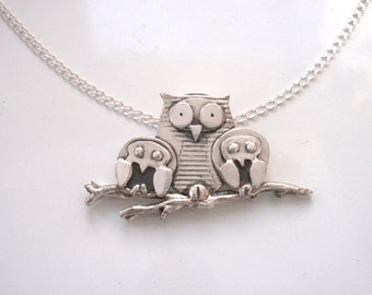 Gilded Owl New Unique Silver Owl Necklace, 3 Owl Bird Pendant of Pure Silver