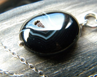 Black Botswana agate oval and bright sterling silver necklace - handmade gemstone jewelry