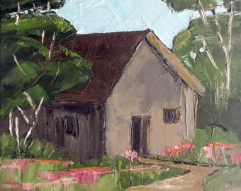ORIGINAL Impressionist Painting CALIFORNIA Plein Air Garden Potting Shed Landscape Monterey Bay Carmel Cypress 11x14 Lynne French