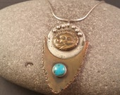 Sun and Sea Totem Pendant with Turquoise