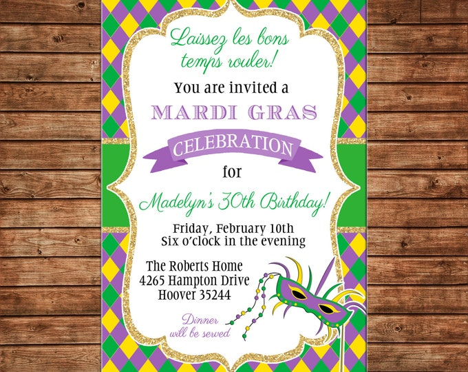Mardi Gras Masquerade Ball Costume Argyle Mask Celebration Birthday Party Anniversary Dinner Cocktails Invitation - DIGITAL FILE