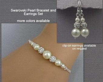 Ivory Pearl Bridesmaid Bracelet Set, Swarovski Ivory Bridesmaid Jewelry, Bridesmaid Gift Bracelet and Earrings Set, Mother of the Groom Gift