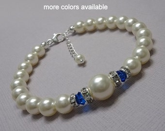 Swarovski Blue Bracelet, Bridesmaid Bracelet, Blue Bracelet, Swarovski Ivory Pearl and Capri Blue Bracelet, Mother of the Bride Gift
