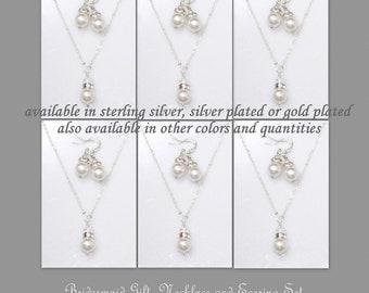 Bridesmaid Jewelry Set of 10, Swarovski Necklace, White Pearl Necklace, White Pearl Earrings, Bridesmaid Necklace Set of 10, Wedding Jewelry