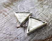 Birch Bark Triangle Earrings - Silver Triangle Earrings - Real Birch Bark Jewelry -  Natural Wood Earrings - Nature Jewelry