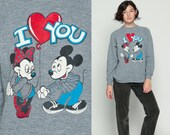 Mickey Mouse Sweatshirt MINNIE Shirt I Love You Cartoon Disney Sweater 80s Graphic Print Grey 1980s Vintage Raglan Retro Medium