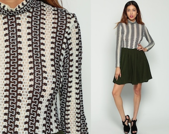 70s Mini Dress CROCHET Boho Mod Sheer Knit 1970s Bohemian Stripe High Neck Off White Olive Green High Waist Long Sleeve Vintage Medium