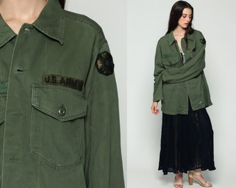 Army Jacket 80s US Military Shirt WOLFE Olive Drab Green Commando Cargo Field Oversized 1980s Vintage Camo Hipster Button Up Extra Large xl