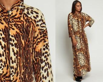 Leopard Print Dress Maxi 70s Long Caftan Front Zip 1970s Hippie Festival Boho Animal Tiger Vintage Long Sleeve Kaftan Large